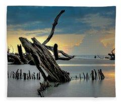 Sticks In The Sand Fleece Blanket