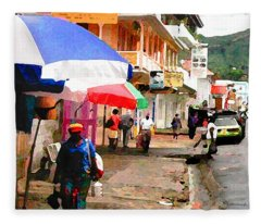 Street Scene In Rosea Dominica Filtered Fleece Blanket