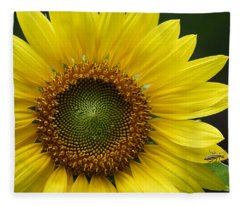 Sunflower With Insect Fleece Blanket