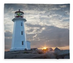 Sunrise At Peggys Cove Lighthouse In Nova Scotia Number 041 Fleece Blanket