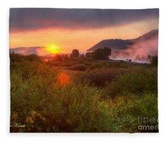 Sunrise At Snake River Fleece Blanket