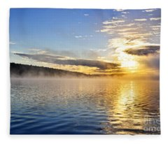 Sunrise On Foggy Lake Fleece Blanket
