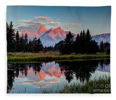 Sunrise On The Tetons Fleece Blanket