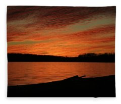 Sunset And Kayak Fleece Blanket
