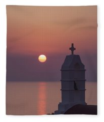 sunset in Greece Fleece Blanket
