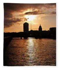 Sunset On The Liffey River Fleece Blanket