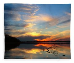 Sunset Over Calm Lake Fleece Blanket