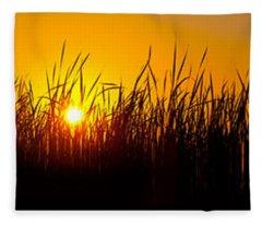 Sunset Over The Prairie Fleece Blanket