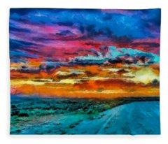 Taos Sunset Iv Wc Fleece Blanket