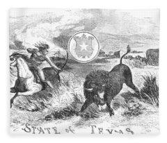 Texas Scene, 1855 Fleece Blanket