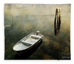 The Boat In Winter Fleece Blanket