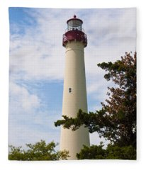 The Lighthouse At Cape May New Jersey Fleece Blanket