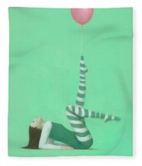 The Pink Balloon I Fleece Blanket