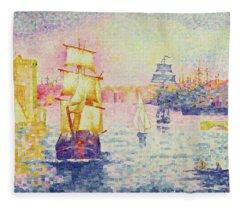 The Port Of Marseilles Fleece Blanket