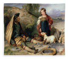 The Stone Breaker And His Daughter Fleece Blanket