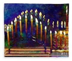 Three Menorahs Fleece Blanket