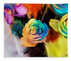 Tie Dyed Roses In Japan Fleece Blanket