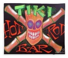 Tiki Hot Rod Bar Fleece Blanket