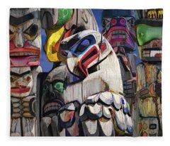 Totem Poles In The Pacific Northwest Fleece Blanket