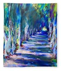 Tree Lined Road Fleece Blanket