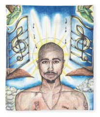 Tupac In Heaven Fleece Blanket