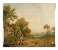 Two Gentlemen Going A Shooting Fleece Blanket