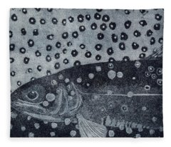 Unique Etching Artwork - Brown Trout  - Trout Waters - Trout Brook - Engraving Fleece Blanket
