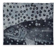 Unique Etching Artwork - Brown Trout  - Trout Waters - Trout Brook - Engraving Fleece Blanket