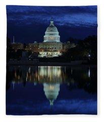 Us Capitol - Pre-dawn Getting Ready Fleece Blanket