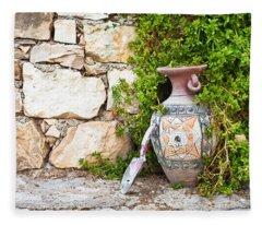 Vase And Trowel  Fleece Blanket