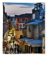 Venice From Ponte Di Rialto Fleece Blanket