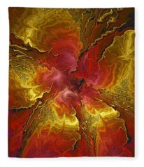 Vibrant Red And Gold Fleece Blanket