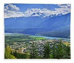 View Of Revelstoke In British Columbia Fleece Blanket