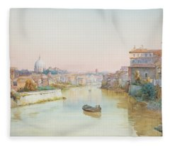 View Of The Tevere From The Ponte Sisto  Fleece Blanket