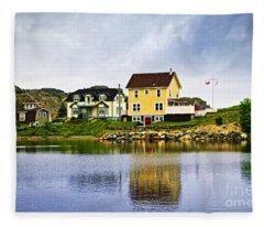 Village In Newfoundland Fleece Blanket