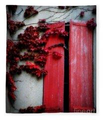 Vines On Red Shutters Fleece Blanket