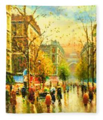 Walking In The Rain Fleece Blanket