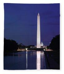 Washington Monument At Sunset Fleece Blanket