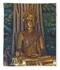 Wat Kaewjamfa Ubosot Principal Buddha Dthb1072 Fleece Blanket