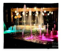 Water Fountain With Stars And Blue Green With Pink Lights Fleece Blanket