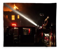 Water On The Fire From Pumper Truck Fleece Blanket