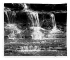 Waterfall Trio At Mcconnells Mill State Park In Black And White Fleece Blanket
