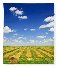 Wheat Farm Field At Harvest Fleece Blanket