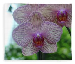 White And Pink Orchid Fleece Blanket
