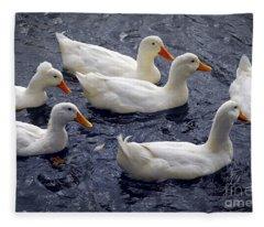 White Ducks Fleece Blanket