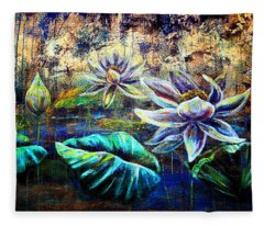 White Lotus Fleece Blanket
