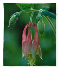 Wild Columbine Flower Fleece Blanket
