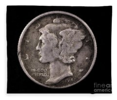 Winged Liberty Mercury Silver Dime Coin Fleece Blanket