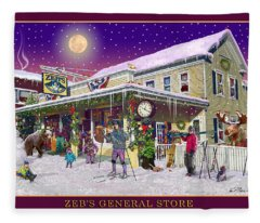 Winter At Zebs General Store In North Conway Nh Fleece Blanket