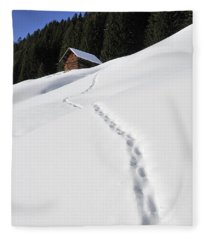 Winter Landscape - Footprints In The Snow Leading To A Barn Fleece Blanket